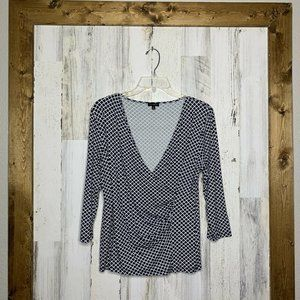 Talbots wrap blouse blue and white ¾ sleeves